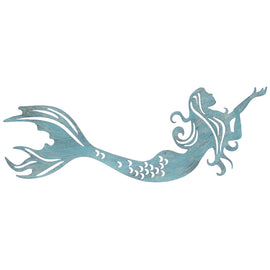 Blue Mermaid Metal Elegant Nautical Wall Decor. FREE SHIPPING - Artisticspacedecor