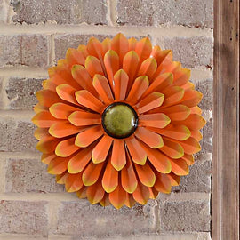 Orange Metal Flower Wall Plaque. FREE SHIPPING - Artisticspacedecor