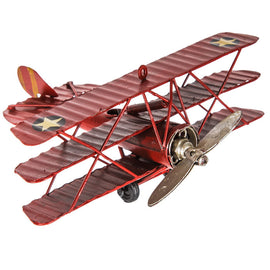 Red Vintage Metal Tri-Level Plane with stars Rustic Decor (FREE SHIPPING) - Artisticspacedecor
