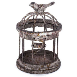 Small Iron Bird Cage with Bird on Top Cute Home Accent - Artisticspacedecor