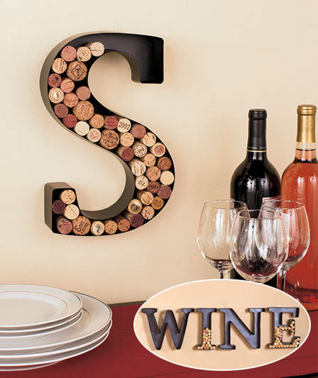 Metal Monogram -S-Wine Cork Holders. FREE SHIPPING - Artisticspacedecor