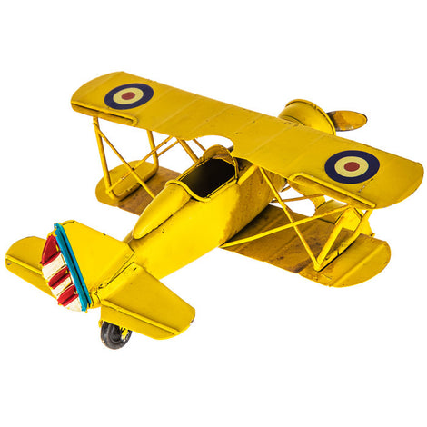 Yellow Metal Biplane. FREE SHIPPING - Artisticspacedecor