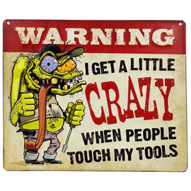 Warning Crazy Tools Embossed Metal Sign - Man Cave Home wall Garage. FREE SHIPPING - Artisticspacedecor