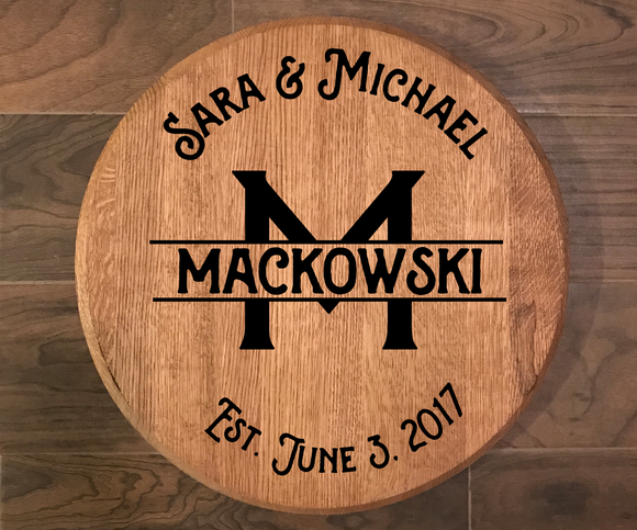 Custom Laser Engraved Bourbon Barrel Head