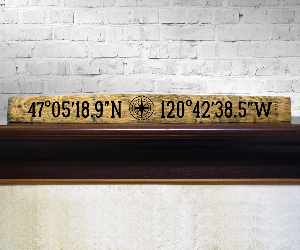 Location Coordinates Handpainted Barrel Stave