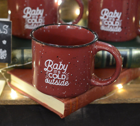 baby its cold outside campfire ceramic mug