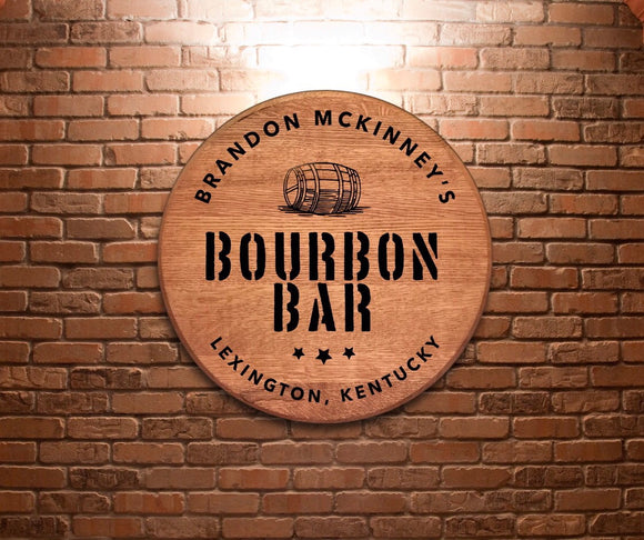 Custom Laser Engraved Bourbon Bar Barrel Head