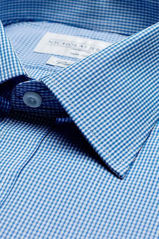 Collar of Gingham Slim Fit Blue Single Cuff Men's Business Shirt