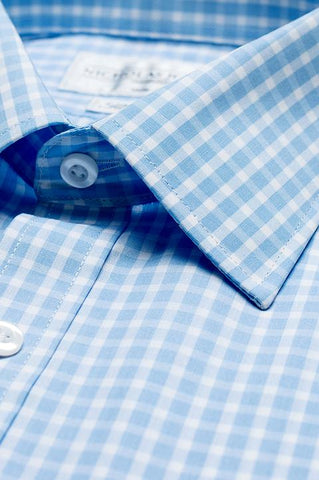 Collar of  Gingham Medium Slim Fit Blue Double Cuff
