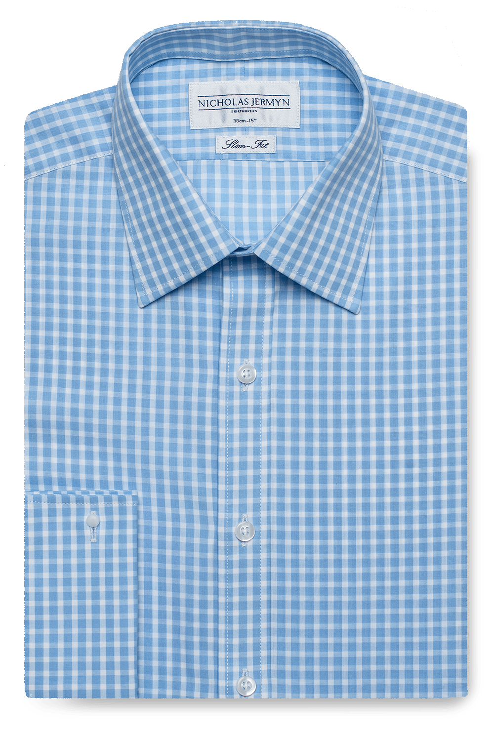 Gingham Medium Slim Fit Blue Double Cuff