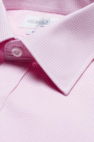 Collar of Gingham Slim Fit Pink Single Cuff Men's Business Shirt