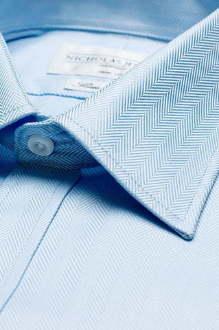 Collar of Herringbone Classic Blue Single Cuff Men's Business Shirt