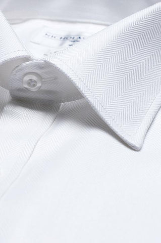 Collar of Herringbone Slim Fit White Double Cuff