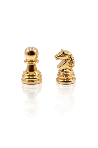 Knight and Pawn Cufflinks - Gold