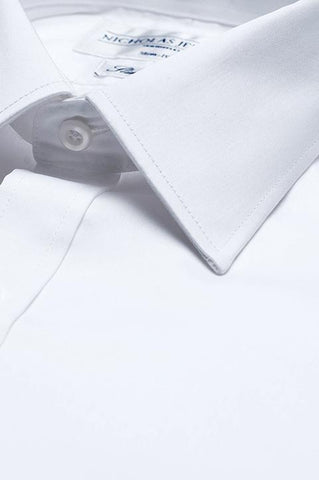 Collar of Luxury Weave Slim Fit White Single Cuff Mens Business Shirt