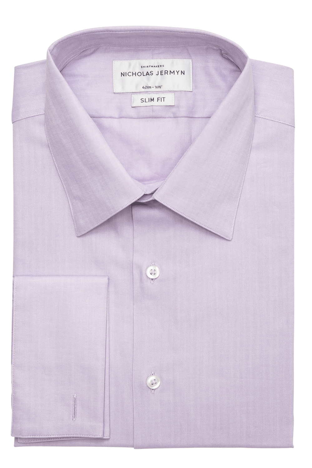 Bauer Herringbone Slim Fit Double Cuff Men's Business Shirt