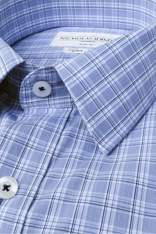 Collar of Lawrence Check Super Slim Double Cuff Men's Business Shirt
