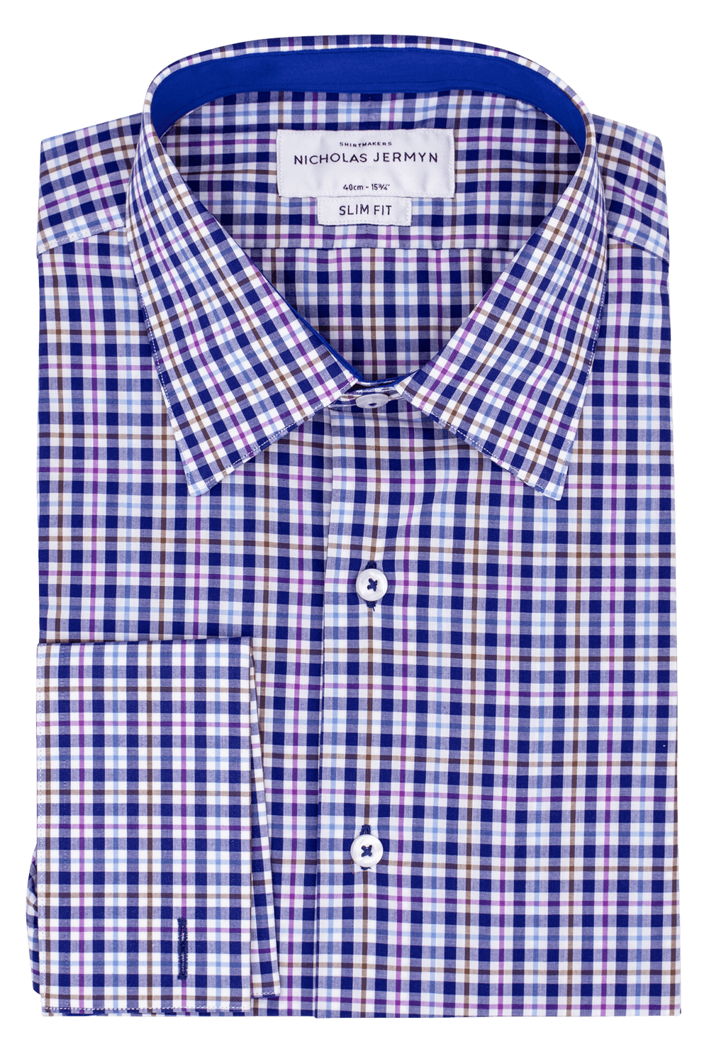 Mackelvie Check Indigo - Slim Fit - Double Cuff