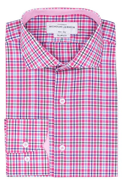 Mackelvie Check Pink - Slim Fit - Single Cuff