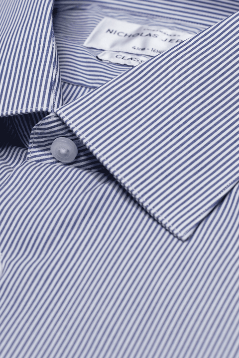 Collar of Carson Stripe Super Slim Double Cuff Men's Business Shirt