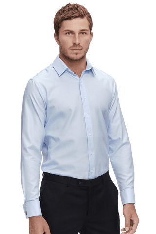Collar of Fine Houndstooth Super-Slim Double Cuff Men's Business Shirt