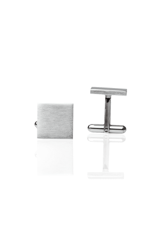 Square Cufflinks - Brushed Silver