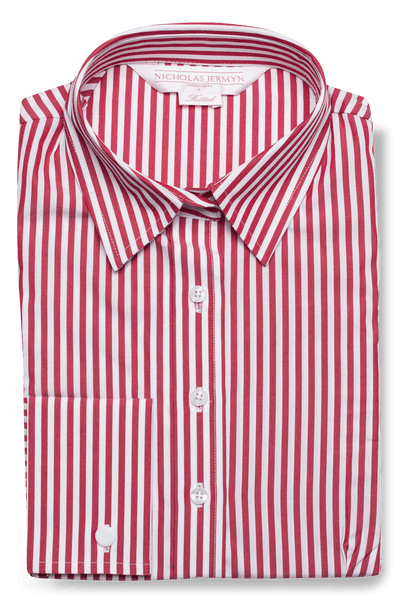 Bold Stripe Shirt Red Women's Business Shirt