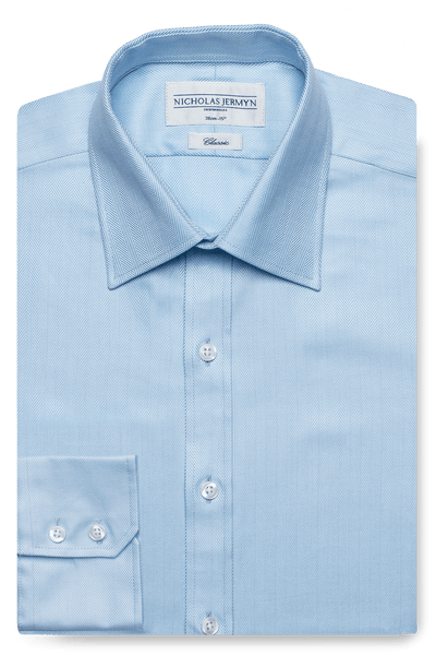 Herringbone Classic Blue Single Cuff Men's Business Shirt