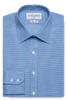 Gingham Slim Fit Blue Single Cuff Men's Business Shirt