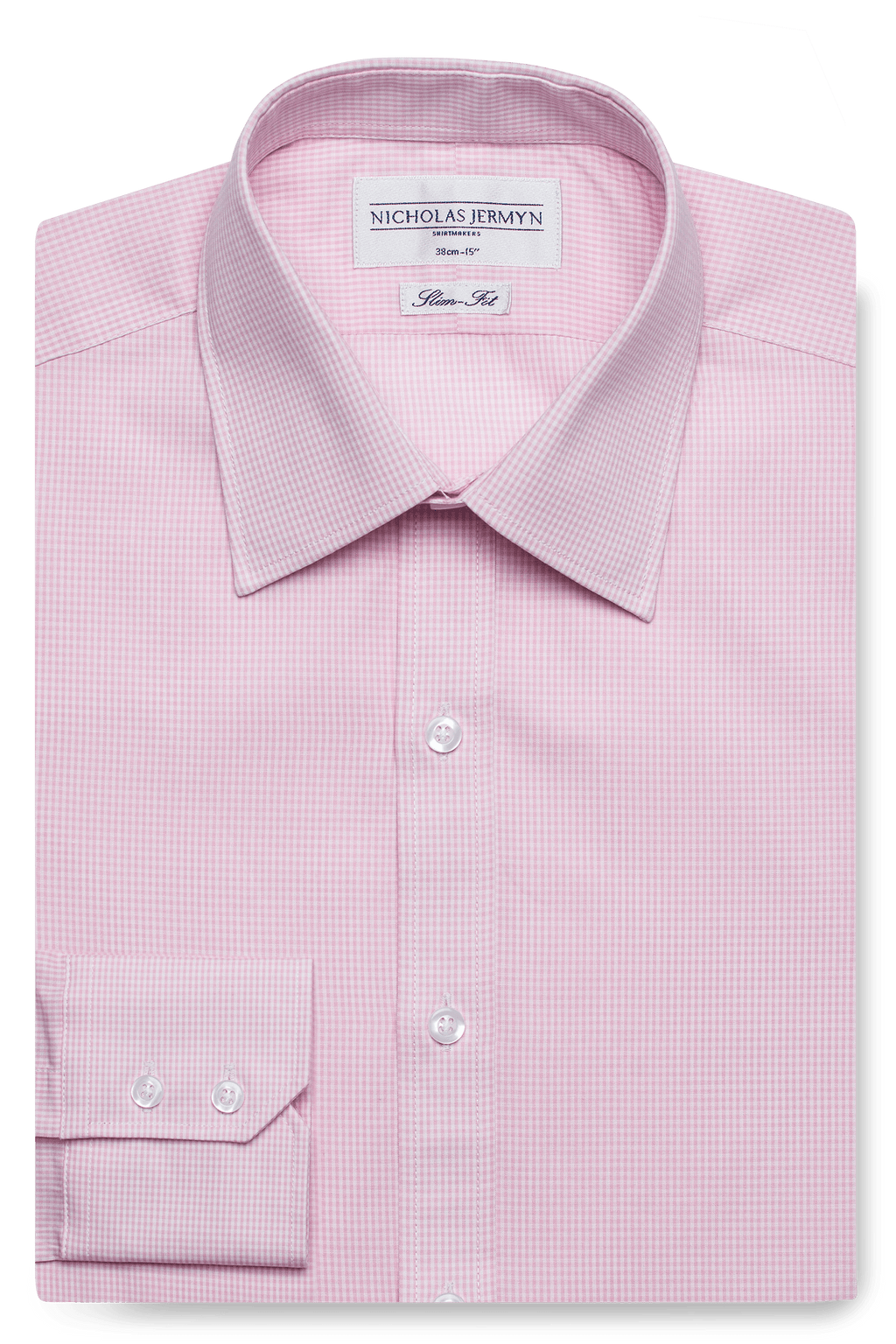Gingham Slim Fit Pink Single Cuff Men's Business Shirt