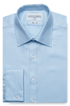 Herringbone Slim Fit Blue Double Cuff Men's Business Shirt
