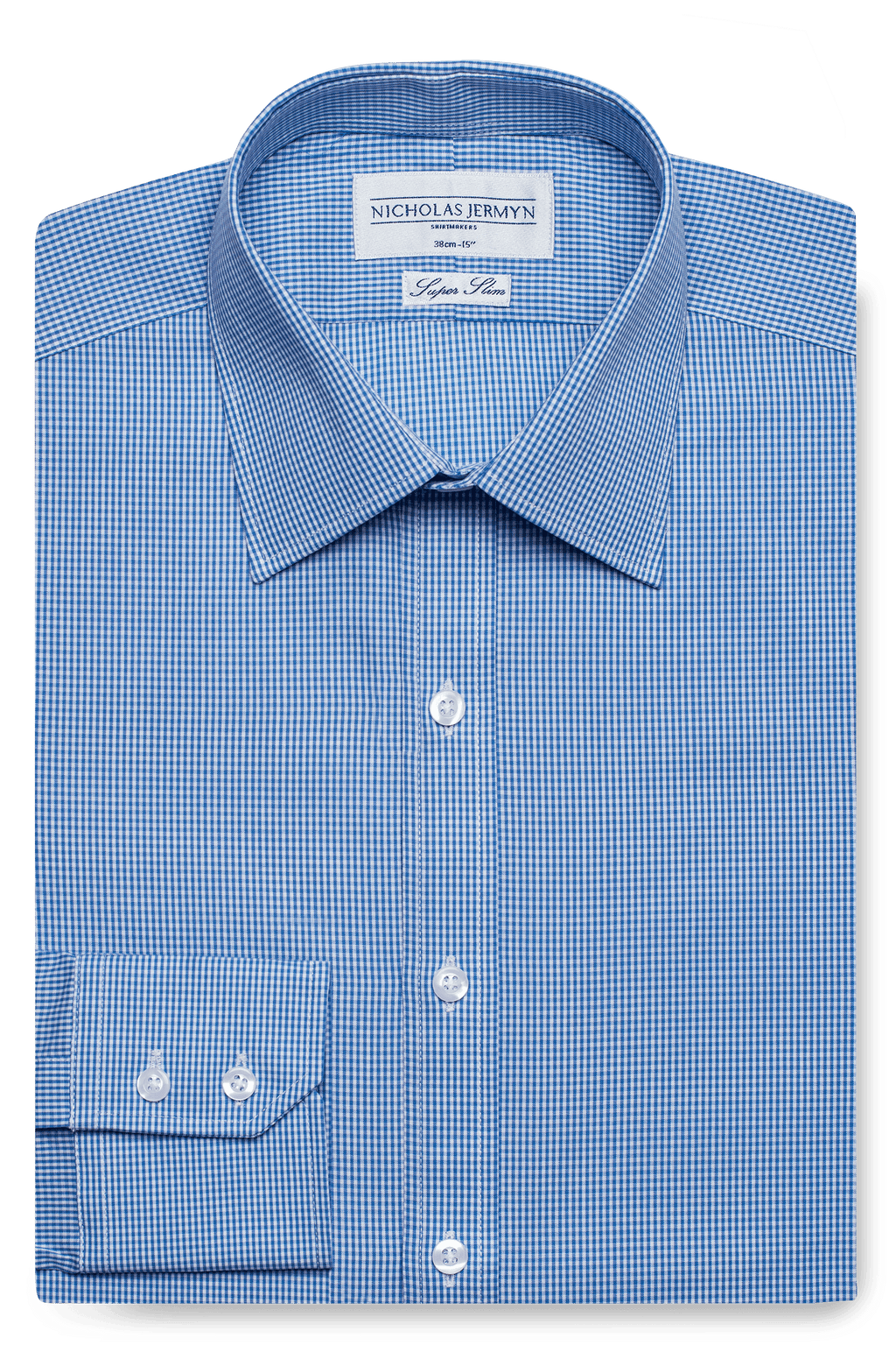 Gingham Super Slim Blue Single Cuff Men's Business Shirt