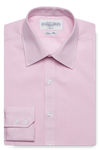 Gingham Super Slim Pink Single Cuff Men's Business Shirt