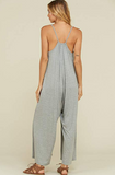 """THROW ON AND GO"" heather grey palazzo wide leg capri ankle length jumpsuit with pockets"