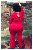 "PLUS SIZE ""ALL EYES ON ME"" red jumpsuit"