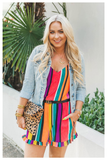 """SPRING BREAK"" multicolor striped romper"