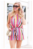 """LAST FRIDAY NIGHT"" multicolor striped romper"