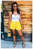 """SUNSHINE"" yellow and white polka dot high waist shorts with pockets"