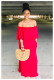 """WILD THOUGHTS"" off the shoulder red maxi dress with pockets"