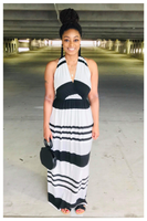 """SIMPLE THINGS"" black and white ivory striped maxi dress"