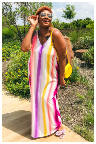 "PLUS SIZE ""SPRING VIBES"" multi striped maxi dress pink"