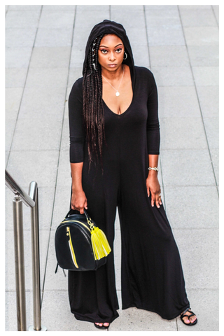 """NIGHT OWL"" black oversized palazzo pant wide leg jumpsuit with hood and pockets"