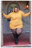 "PLUS SIZE ""NETFLIX AND CHILL"" hoodie/dress mustard and olive"