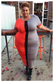"PLUS SIZE ""SPLIT DECISION"" orange dress"