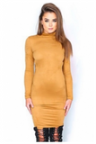 """GOLDMEMBER"" long sleeve suede gold dress"