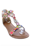 """VACAY VIBES"" colorful bejeweled charm flat sandal"