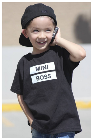 Mini boss classic black t-shirt kids sizes newborn-youth