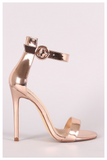 """CLASSIC ROSE"" gold ankle strap heel"
