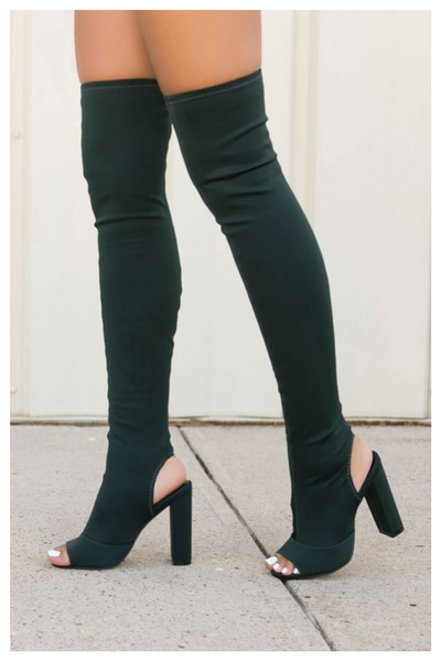 """TOO CLOSE"" thigh high stretchy boots"
