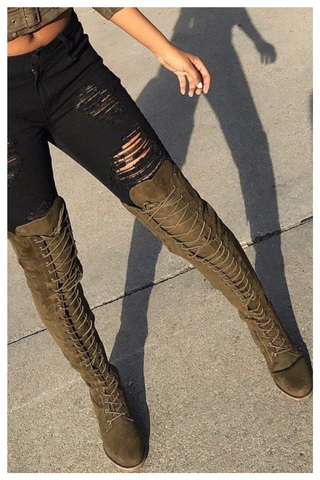 """READY FOR WAR"" olive thigh high combat boots"